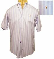 RALPH LAUREN Purple Striped Cotton Button Shirt Mens Medium (M) Short Sleeve
