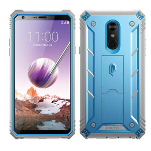 For LG Stylo 4 Poetic Revolution Cover Rugged Case Blue [With Tempered Glass]