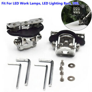 2PCS 4WD 4X4 Stainless Steel Clamp Off-road LED Work Light Mount Bracket Holder