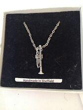 "Trumpet PP-M09 Emblem Silver Platinum Plated Necklace 18"""