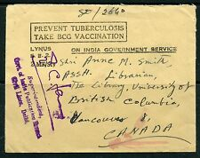 Weeda India Official Tuberculosis slogan cover to UBC Library, Vancouver cancels