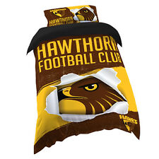 Hawthorn Hawks AFL SINGLE Bed Quilt Doona Duvet Cover Set *NEW 2018* GIFT