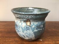 "Studio pottery stoneware planter with blue iridescent glaze - 4.5"" tall"