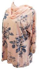 Damen Tunika Bluse Shirt Cotton rosa-bunt Schal Krempelarm Lagenlook EG 46-48