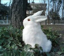 white simulation rabbit toy polyethylene&furs cute squating rabbit model 22x16cm