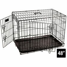 Pet Cage 48 Inch Dog Animal Crate Home Folding Metal 2 Door Training Kennel
