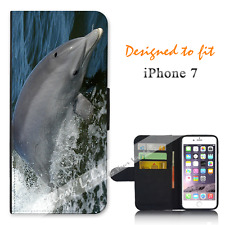 Apple iPhone 7 Wallet Flip Phone Case Cover Dolphin Surf Y00813