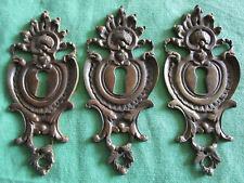 3 entrées serrure laiton ancien Louis XV tiroirs meuble commode 12 X 5,3 cm