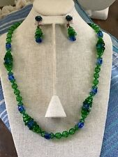 Vintage Miriam Haskell Colorful Necklace Earring Set Greens Blue