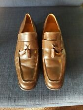 Mens brown leather slip on shoes size 9