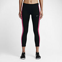 NIKE WOMENS POWER ESSENTIAL RUNNING CROP TIGHTS BLACK PINK SZ SMALL S 667623-017