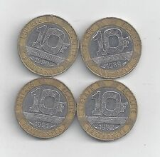 4 BI-METAL 10 FRANC COINS from FRANCE (1989, 1990, 1991 & 1992)