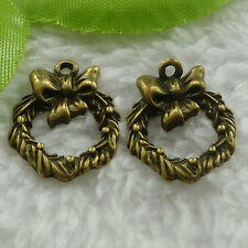 Free Ship 220 pieces bronze plated bowknot charms 20x16mm #788