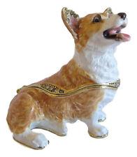 Pembroke Corgi Dog Jewelled Trinket Box or Figurine approx 5.5cm High