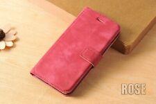 Pour iPhone 7  Housse Etui Flip Cover Cuir Velours Véritable Rose Verre Trempé O
