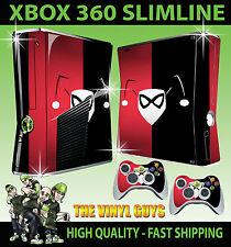 Xbox 360 Slim Harley Quinn con logotipo en rojo Negro Batman Sticker Skin & 2 X Pad Skins