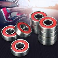 10PCS Roller Skate Skateboard Longboard Wheel Bearings ABEC-5 608-2RS Red Set ❤