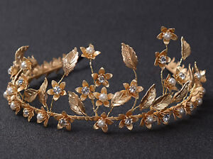 Women Girl Bride Retro Leaf Pearl crystal Party Gold Hair Tiara Headband Prop