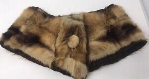 Fox Fur Wrap Cape Shawl Capelet Brown Tan Silk Lined Bakelite Chain Early 1900's