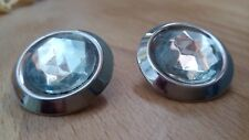 Vintage Earrings Pierced 1980s Silver Tone Crystal Stone Sparkling Stud