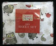 Debbie Mumm Twin Size Sheet Set Winter Holiday Hoot Owls Snowflakes Birds