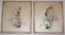 Midcentury Vintage Pair of Watercolor Airbrush Paintings by Benjamin Harris