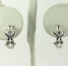 Diamond heart J hoop earrings 14K white gold round brilliant .08C Etruscan style