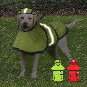 Reflective Dog Rain Coat Waterproof Pet Puppy Raincoat Jacket Hooded Clothes