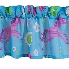 """HORSE PONY Girls Western Blue Turquoise WINDOW Treatment 16""""x 84"""" VALANCE"""