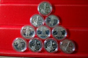 10 Coin 1992-P Proof COLUMBUS Silver Dollar LOT OF TEN in capsules PF
