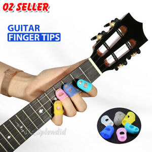 4 Sizes Silicone Guitar Piano Ukulele Fingertip Protectors Finger Free Picks AU
