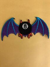 FLYING BAT 8 BALL PATCH IRON ON OR SEW ON