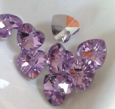 8 Beautiful Crystal Cut Glass Heart Beads - Pink/Lilac AB -14mm Jewellery Making