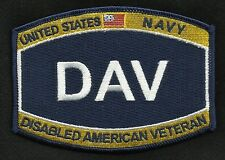 NAVY DAV DISABLED AMERICAN VETERAN RATING RANK HAT MILITARY PATCH