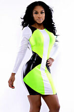 Mini Abito cono ecopelle Womens Mini Faux Leather Speedway Bodycon dress