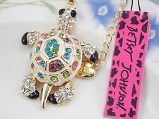Betsey Johnson Multi-Color Crystal turtle Pendant Necklace Sweater chain BB29