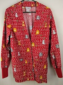 Peaches Uniforms Top Scrubs Womens Sz XS Red Long Sleeve Cat Dog Love & Kisses