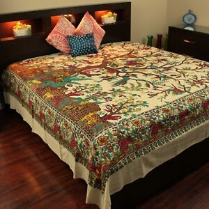 Cotton Tree of Life Tapestry wall Hanging Tablecloth Bedspread Coverlet King Tan