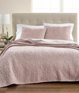 Martha Stewart Collection KING Velvet Flourish Pink Rose Quilt NEW -QUILT ONLY