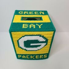 New listing Green Bay Packers Tissue Box Cover - Yarn Plastic Canvas Handmade