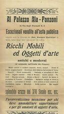 Cremona Vendita all'Asta Pubblica dell' Eredità Ala Ponzoni 1924