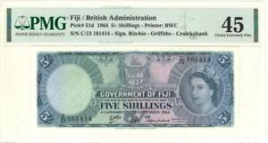 Fiji 5 Shillings Currency Banknote 1964 PMG 45 CHOICE XF