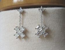 Zirconia Dangling Fashion Earrings New Silver Tone Princess Cut Cubic