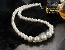 Womens Cream Faux Pearl Necklace Choker Pearls Statement Gift Jewelry