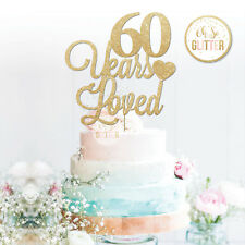 Years Loved Cake Topper, Customised Personalised Cake 50 60 70 Glitter Birthday
