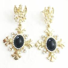 Black Onyx Oval Dangle Drop Earrings 14k Yellow Gold Plated Jewelry