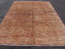 Tradicional hecha a Mano Gabbeh Lana Oro Stripy afgano Alfombra Moderna 288x245cm
