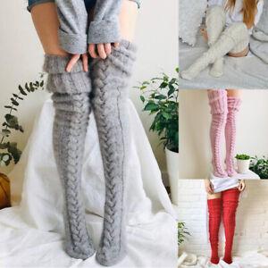 Women's Girls Over Knee Long Socks Wool Knitted Winter Warm Thigh High Stockings