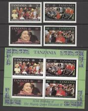 1987 Tanzania Queen Elizabeth 11 60th Birthday set of 4 mint stamps and mint min