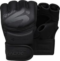 RDX Leather MMA Boxing Gloves Grappling Fighting Punch Bag Training CA